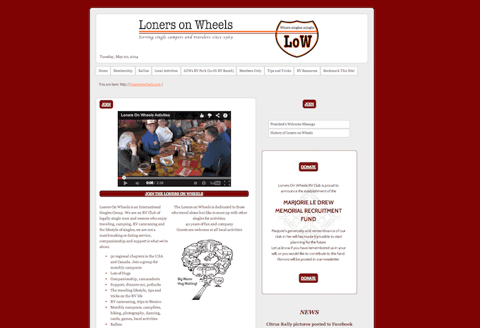 lonersonwheels site snapshot